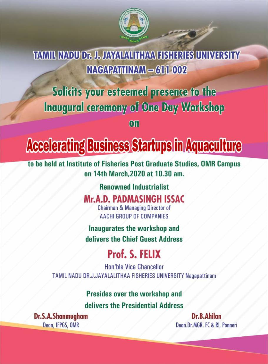 One Day Workshop on Accelerating Business Start-ups in Aquaculture